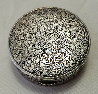 Antique handcrafted LW 935 sterling silver etched ornate floral compact WOW