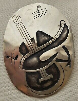 Sterling silver handcrafted vintage overlay guitar sombrero ornate pin pendant