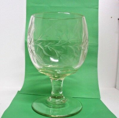 EAPG Clear Pressed Glass Goblet Challis Compote w/wheat etching  LARGE