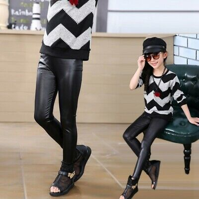 Toddler Girls Baby Stretchy Kids PU Leather Pants Warm Skinny Leggings Trousers
