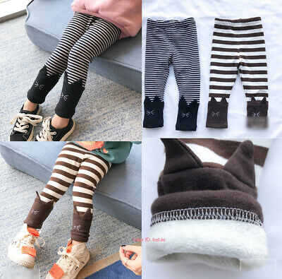Kids Girls Baby Winter Warm Cotton Leggings Fleece Lined Thermal Stretchy Pants