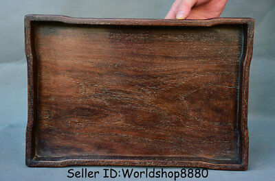 """14"""" Collect Rare Antique Old Chinese Dynasty Palace Huanghuali Wood Plate Tray"""
