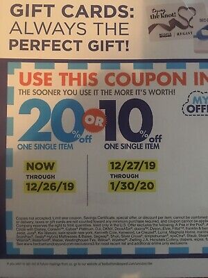 Bed Bath & Beyond Coupon (1) 20 Percent Off 1 Item Expires 12/26/19