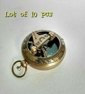 Antique Brass Vintage Sundial Push Button Nautical Compass Lot of 10 pcs STYLE