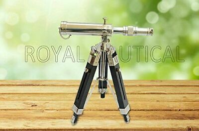 """Nautical 10"""" Telescope Silver Finish Collectible Brass With Black Wooden Tripod"""