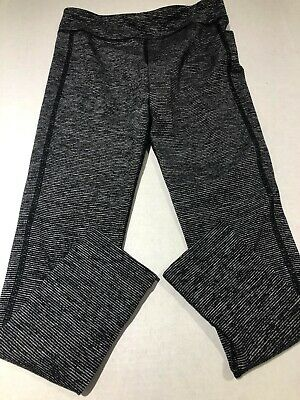 Old Navy Active Girls M Medium 8 Yoga Pants Athletic Black White Stripe