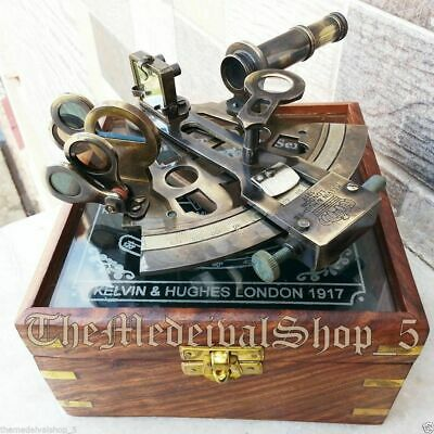 Glass Gift Sextant Rare Antique Brass Victorian Nautical German With Case  Box