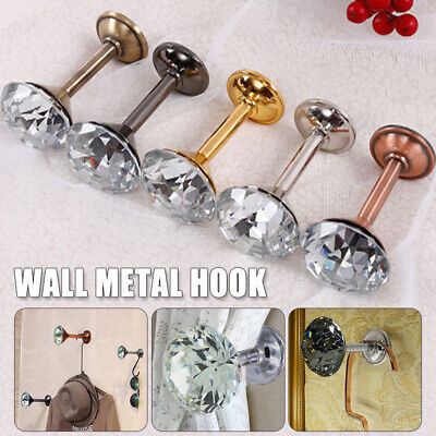 1 pair Metal Crystal Glass Curtain Holdback Wall Tie Back Hooks Hanger Holder