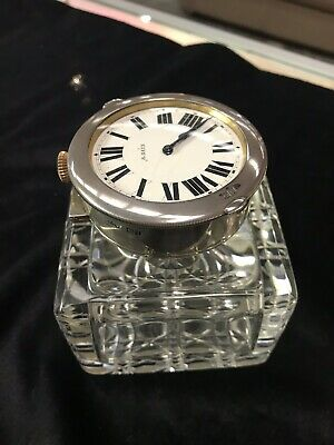 Silver And Glass Ink Well And Pocket Watch Holder