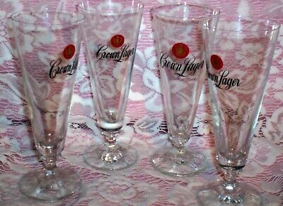 4 X CROWN LAGER BEER FLUTES - 200 ml.