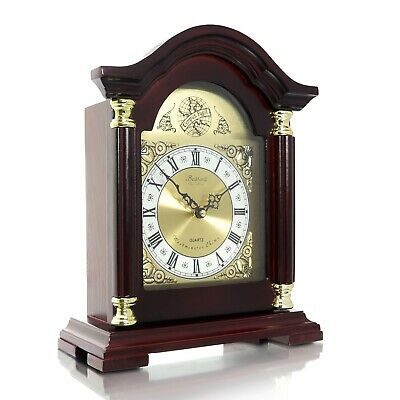 BEDFORD COLLECTION REDWOOD OAK FINISH MANTEL MANTLE SHELF DESK CLOCK with CHIMES