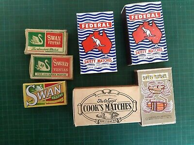 Vintage matchboxes, large size FEDERAL, SWAN, COOK'S MATCHES, Safety Matches