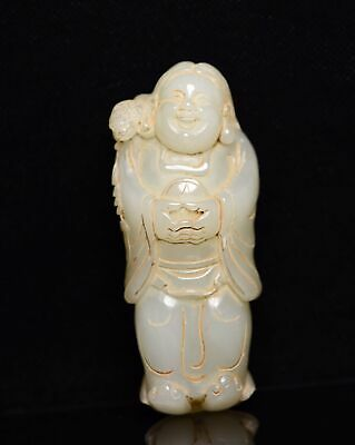 Chinese Exquisite Hand-carved mythology figure Carving Hetian jade statue