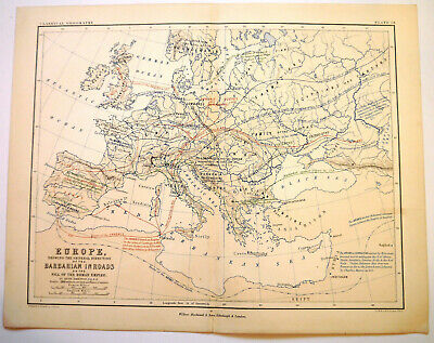 Antique Map Of Europe Barbarian Inroads After Roman Empire W & A K Johnston 1880