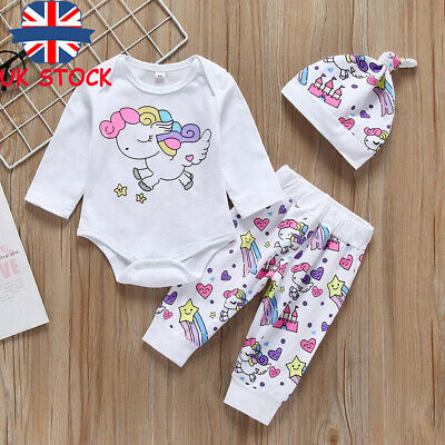 Toddler Baby Girls Unicorn Bodysuit Romper Pants Hat 3Pcs Sets Clothes Outfits