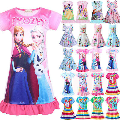 Toddler Kids Girl Frozen Snow White Unicorn Princess Dress Summer Casual Holiday