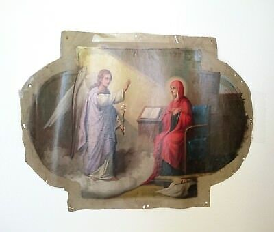 """Antique Russian Orthodox IconTemple Hand-Painted on Canvas """"Annunciation""""19th c."""