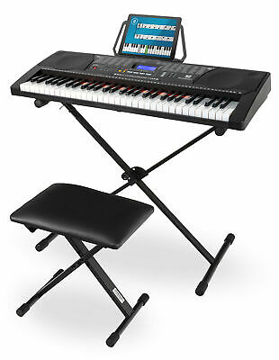 61 Touches Illuminées Clavier Piano Keyboard USB MP3 Support de Keyboard banc