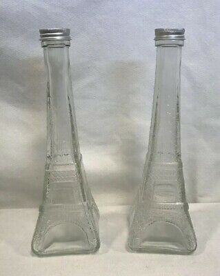 """Eiffel Tower Glass 9"""" Tall Set Of Two Bottles Shakers Decor Paris French"""
