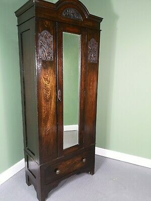 An Antique Mid 20th Century Dark Oak Hall Cupboard Wardrobe ~Delivery Available~
