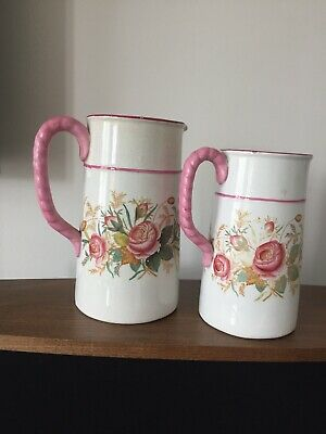 Pair Of Antique Victorian Graduated Floral Jugs Decorated With Pink Roses