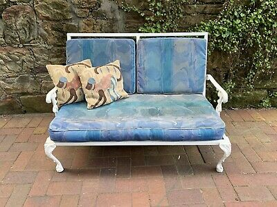 Vintage French Louis Outdoor 2 Seater Garden Chair~Cast Metal Lace~Patio Bench