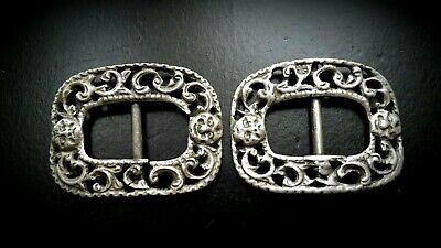 Rare Georgian Solid Silver Theatre Shoe Buckle Pair With Drama Masks