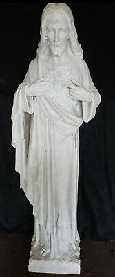 Antique Italian Carved Marble Sacred Heart of Jesus Religious Church Statue 55""