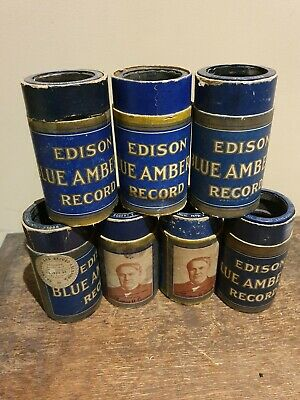 Edison Phonograph Cylinder  Records , Mixed LOT of 7 Blue Amberol Cylinders