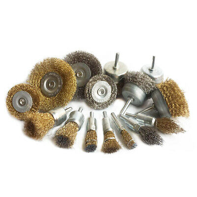 15Pcs/Set Copper Plated Steel Wire Brush Cup Wheel Shank 6mm For Metal Polishing