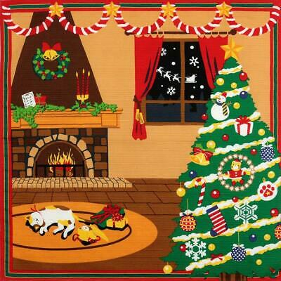 FUROSHIKI Japanese Wrapping Cloth Cotton Fabric MADE IN JAPAN 50cm Christmas Cat