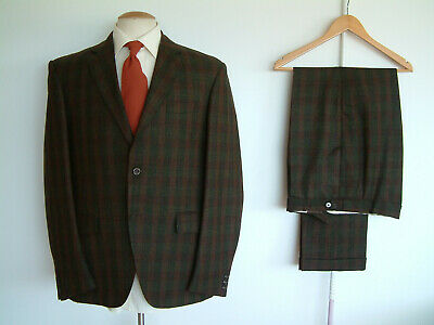 """1960's TOWN & COUNTRY SUIT..CHECK..42"""" x 36""""..PURE WOOL..MADE IN ENGLAND..PEAKY"""