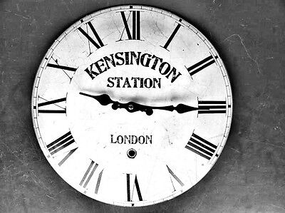 Wall Clock Iron Enamel Station Kensinton Gift in Vintage Aesthetics Wall Deco