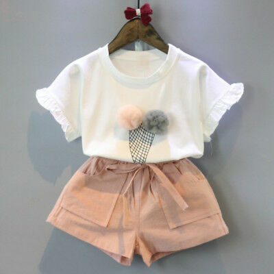 Girls Ice Cream Pom Pom Two Piece Co Ord Set Childs Two Piece Shorts Top Age 2-7