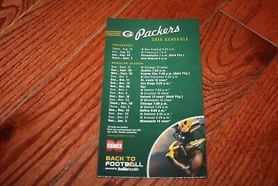 """Green Bay Packers - NFL Football - 2015 - Magnetic Schedule - 7.00"""" x 4.00"""""""