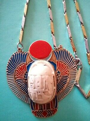 Vintage Egyptian Revival Scarab Beetle Necklace Falcon Pendant Old Rare