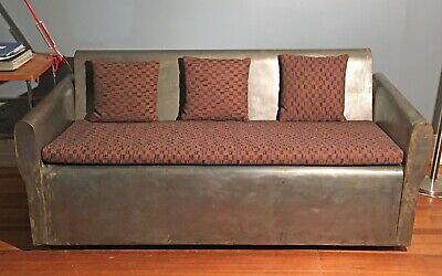 Welded Steel Art Deco Sofa French Mid Century Modern Industrial