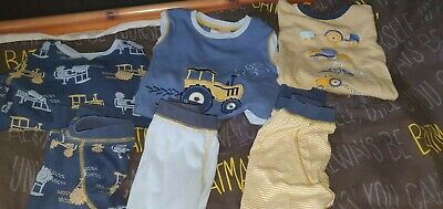 Next Boys 3 Pairs of Snuggle Fit Pyjamas Long Sleeved tractors theme  3-4 Years