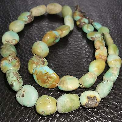 Ancient Unique natural turquoise stone beautiful beads Necklace    # 29