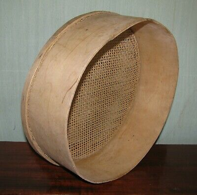 Antique primitive sieve sifter mesh bent wood Europe Lithuania 1900 old #5
