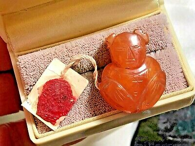 ANTIQUE Chinese IMMORTAL Lan Caihe CARNELIAN Carved Man PENDANT orig TAG & WAX