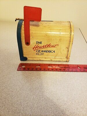 Vtg Ertl Pressed Steel Chevy The Heartbeat Of America Toy Bank Mailbox