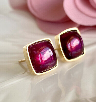 Natural Pink Tourmaline (8mm, 5.3ct) & 14k Yellow Gold Stud Earrings, New