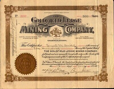 GOLDFIELD LEDGE MINING COMPANY 1907 stock certificate