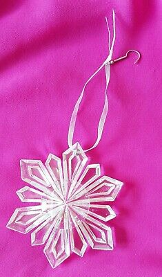 Clear ~ Hanging Snowflake, Ribbon & Hook ~ 9cm ~ For Christmas Trees & Displays