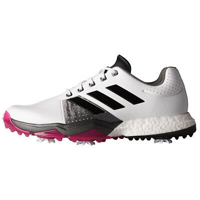 NEW 2017 Adidas Mens ADIPOWER BOOST 3 Golf Shoes White/Black/Pink Size 8 W