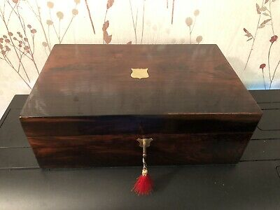 Antique mahogany and brass writing slope box with lock, key, inkwell.