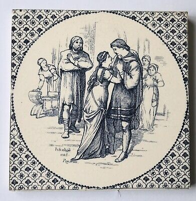 "Victorian Wedgwood Tile 8.25""x 8.25""""- Entitled ""Ivanhoe and Rowena """