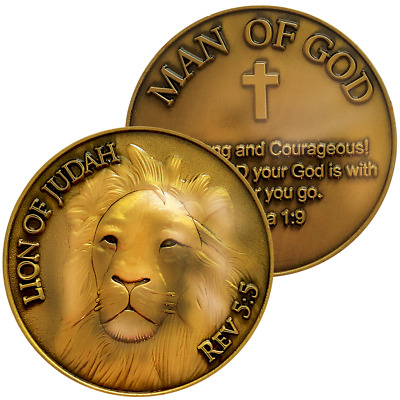"Antique Gold Plated Christian Challenge Coin, Lion of Judah Man of God, ""Be Stro"