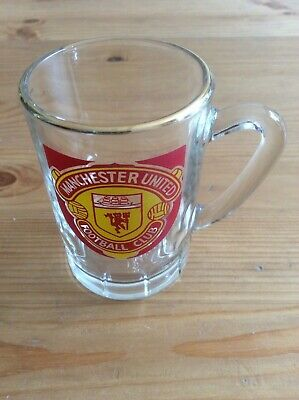 Vintage Manchester United Football Club mini tankard shot glass with handle
